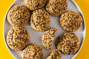 freshly baked oatmeal cookies sprinkled with sunflower seeds, li