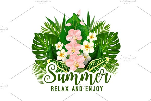 Summer Tropical Holiday Floral Poster Design