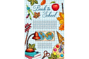 Back to school supplies banner with apple and leaf