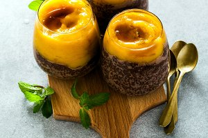 healthy delicious breakfast of pudding made from chia seeds and