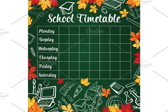 School Timetable Template Of Lesson Schedule