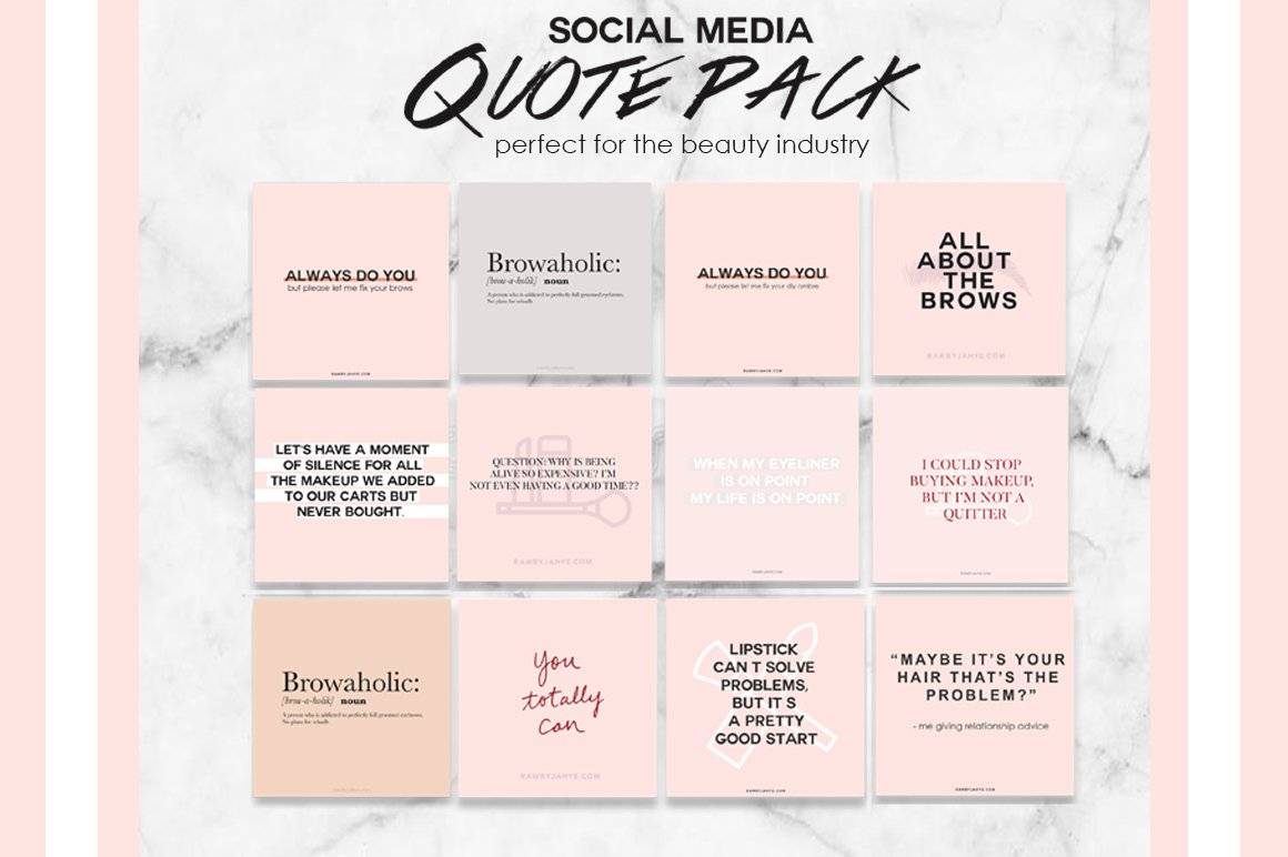 Social Media Beauty Quote Pack Instagram Templates Creative Market