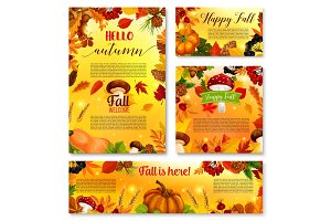 Autumn Hello fall seasonal vector banner poster