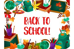 Back to school greeting card with study supplies