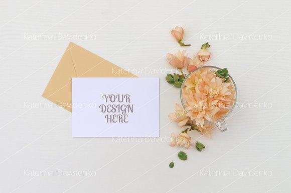 Postcard Mockup Flowers Envelope