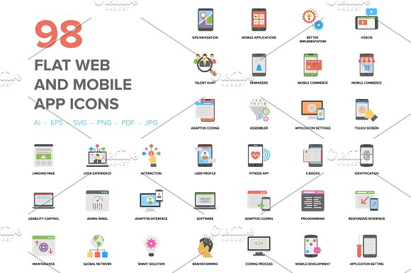 98 Flat Web And Mobile App Icons
