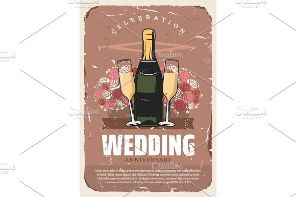 Wedding Anniversary Party Retro Invitation Design