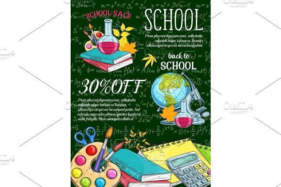 School Supplies And Item Sale Banner On Chalkboard