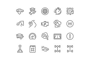Line Car Features Icons