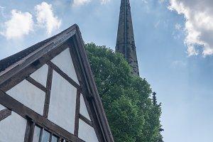 Church spire over homes in Shrewsbury, Shropshire