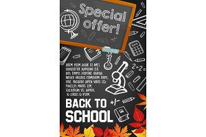 Back to school supplies sale poster on blackboard