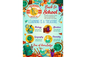 Back to school sale banner with student supplies
