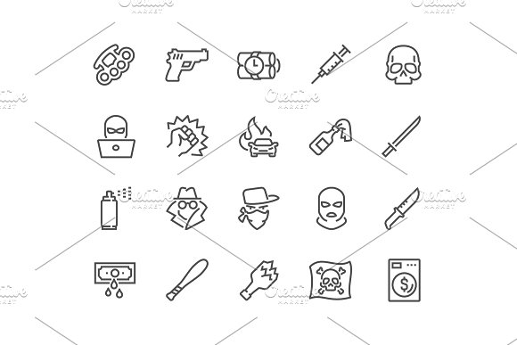 Line Crime Icons