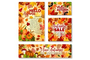 Hello Autumn, fall season sale banner template set