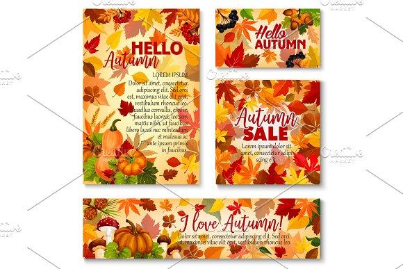 Hello Autumn Fall Season Sale Banner Template Set
