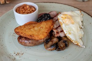 Full english breakfast in rustic boutique hotel
