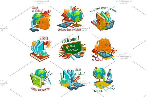 Back To School Vector Statonery Lesson Icons