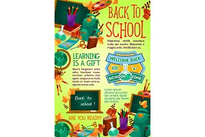 Back to school supplies poster, education design