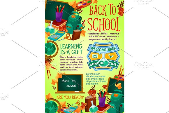 Back To School Supplies Poster Education Design