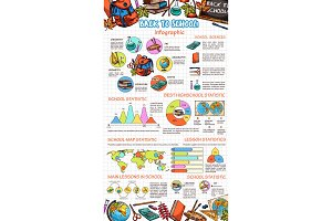 School vector education sketch infographics