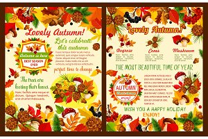 Autumn season celebration poster template set
