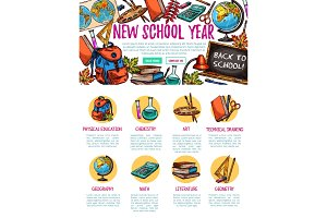 Back to School vector study sketch landing page