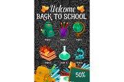 Welcome back to school sale offer banner design