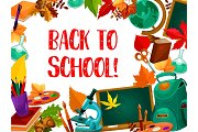 Back to school poster with frame of education item