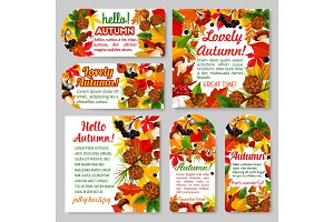 Hello Autumn banner and fall season tag set