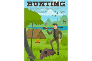 Hunting sport banner with hunter, animal and bird