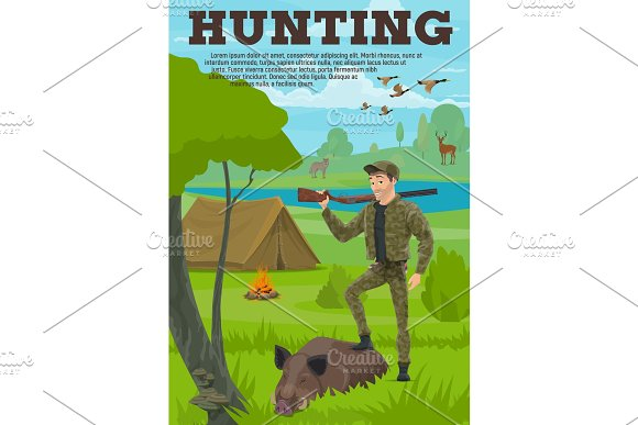 Hunting Sport Banner With Hunter Animal And Bird