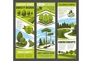 Landscape design banner with green garden tree