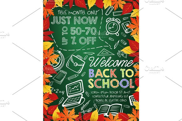 Back To School Sale Banner On Chalkboard With Leaf