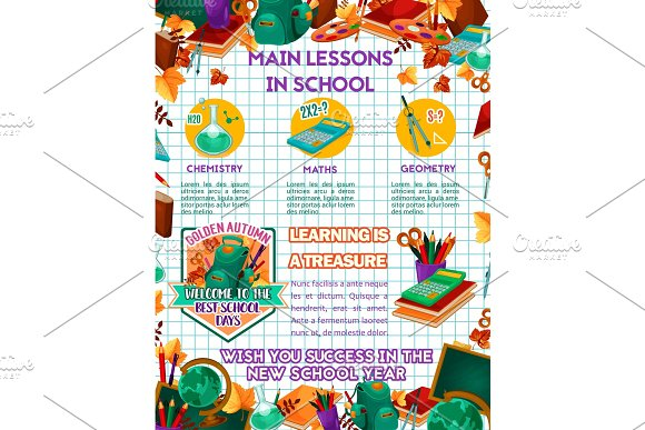 School Vector Science Lessons Education Poster