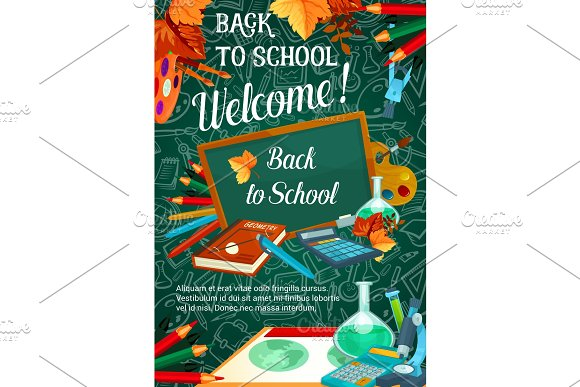 Back To School Vector Autumn Sale Poster