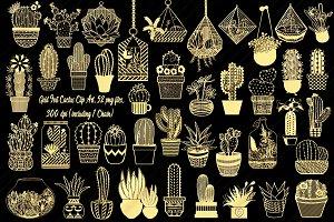 Gold Foil Cactus/Terrarium ClipArt