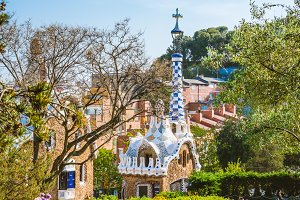 BARCELONA, SPAIN - April 26: Colorful mosaic building in Park Guell. Barcelona, Spain