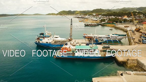 Cargo And Passenger Transit Port In Dapa City Aerial View Siargao Island Philippines