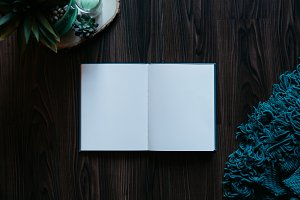 Wooden Background & Blank Notebook