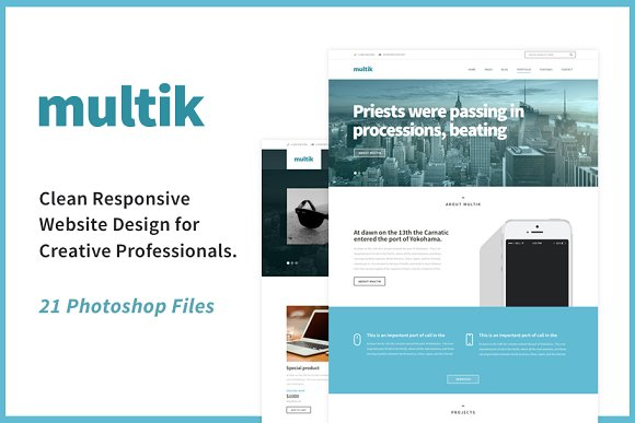Multik Clean PSD Website Design
