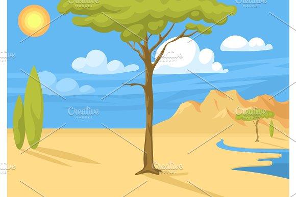 Australia Wild Background Landscape Cartoon Popular Nature Flat Style Australian Native Forest Vector Illustration