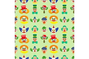 Clown cute characters performer carnival actor makeup juggling human seamless pattern background vector illustration.