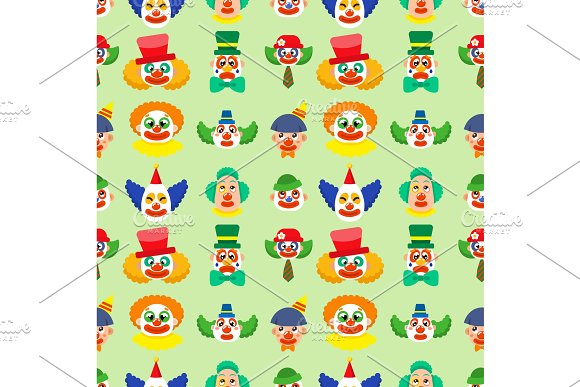 Clown Cute Characters Performer Carnival Actor Makeup Juggling Human Seamless Pattern Background Vector Illustration