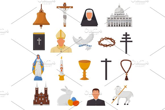 Christian Icons Vector Christianity Religion Signs And Religious Symbols Church Faith Christ Bible Cross Hands Praying To God Biblical Illustration Isolated On White Background