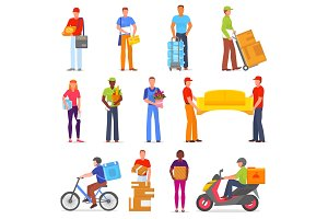 Courier vector postman character of delivery service delivering parcel box or package illustration set of deliveryman person transporting cargo isolated on white background