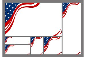 Set of USA banner background design