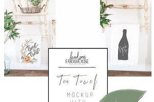 Rustic White Tea Towel Mockup