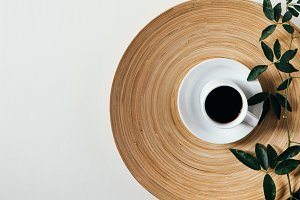 Coffee, White Background, Leaves