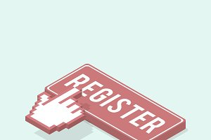 Vector image of register bar icon