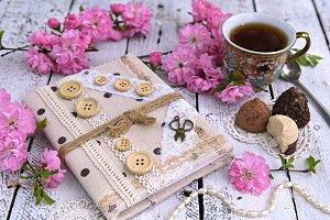 Cup of tea with sakura flowers